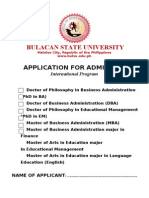Bsu Application Form