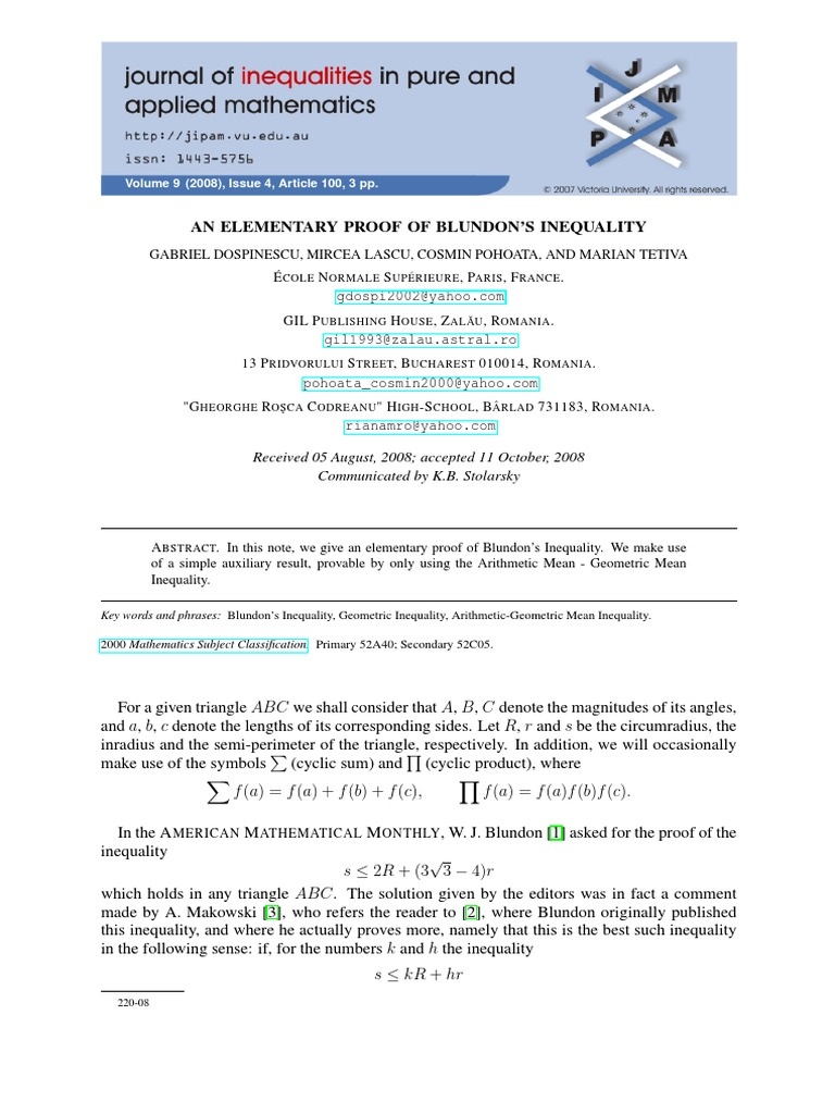 An elementary proof of blundons inequality mathematical proof an elementary proof of blundons inequality mathematical proof triangle buycottarizona Image collections