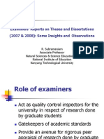 Examiners' Reports on Theses and Dissertations