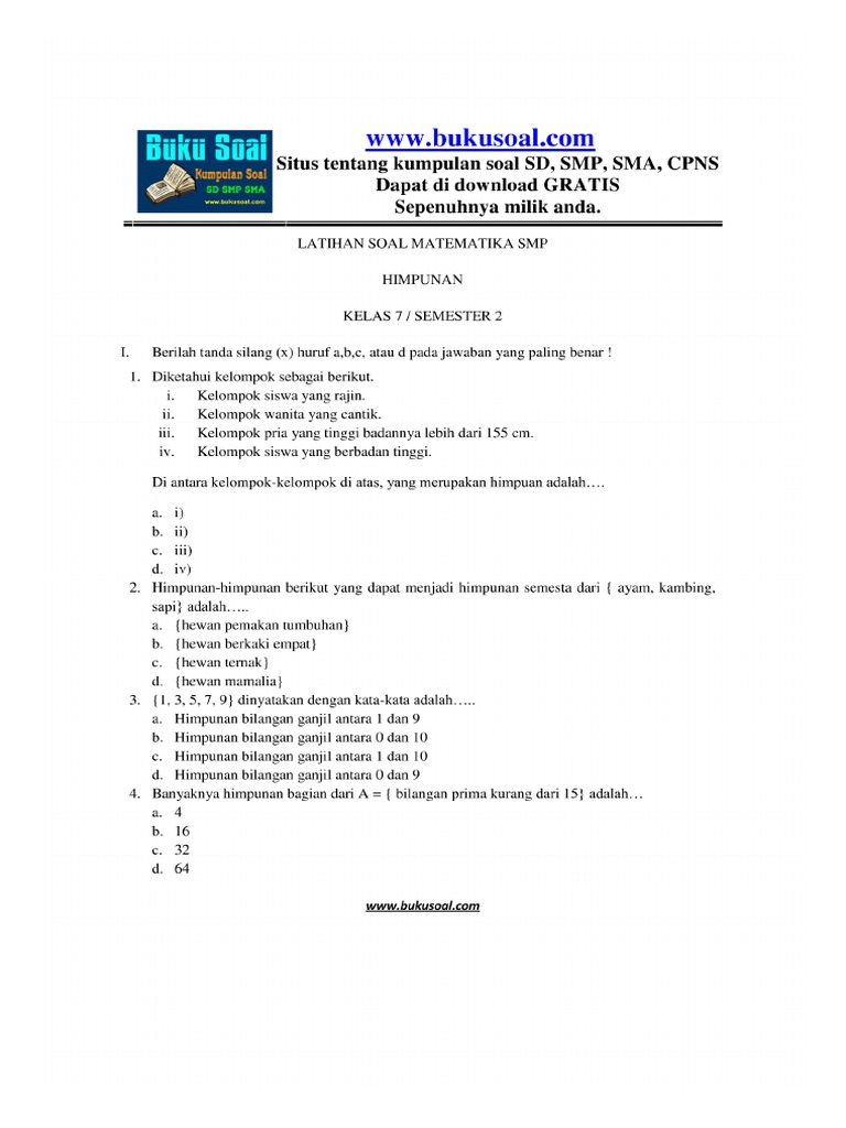 Latihan Soal Matematika Himpunan Kelas 7 Smp Buku Soal
