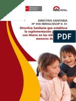 Directiva Sanitaria Que Establece La Suplementacion Preventiva Con Hierro en Las Ninas y Ninos Menores de Tres Anos