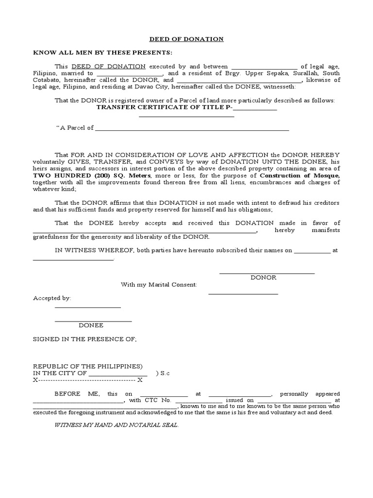 Deed Of Donation Sample Form