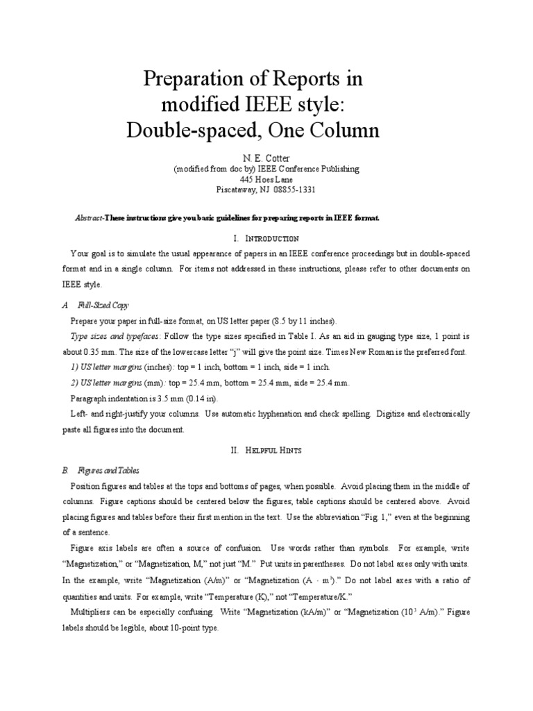 Magnificent Ieee Format Template Ideas - Entry Level Resume ...