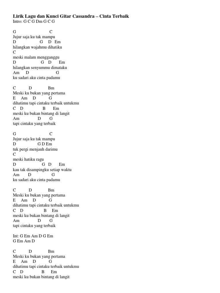 Lirik Lagu Dan Kunci Gitar Cassandra