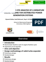 Modelling and CFD Analysis of a Miniature Radial Turbine for Distributed Power Generation Systems Kiyarash Rahbar