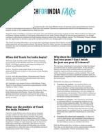 Teach for India - FAQ Sheet