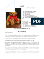 Megelles Joe Bear Making Pattern Copy