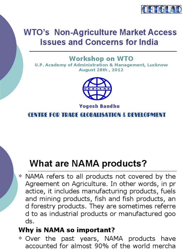 Non Agriculture Market Access Issues And Concerns For India Non