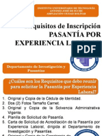 Requisitos Para Inscripcion. Pasantia Por Experiencia Laboral en Departamento
