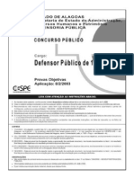 DPAL Defensor 2003 Objetiva Gabarito Subjetiva