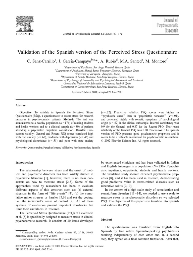 Validation of the Spanish Version of the Perceived Stress ...