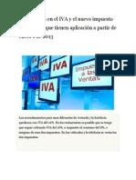 Los Cambios en El IVA y El Nuevo Impuesto Al Consumo