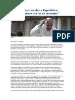 Papa Francisco Escribe a Repubblica