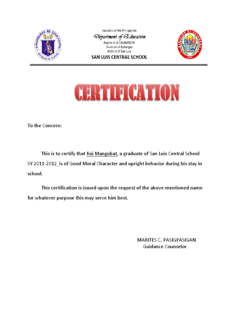 Certificate of good moral character for employment sample choice certificate of good moral character yadclub choice image altavistaventures Choice Image