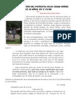 UNA COMUNICACIÓN DEL PATRIOTA JULIO CESAR NÚÑEZ, HACE 25 AÑOS.