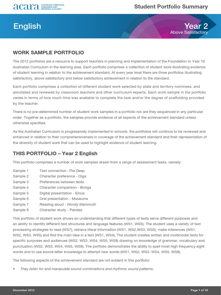 Year 2 English Portfolio Above | Vocabulary | Reading (Process)