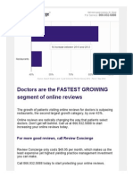 Doctors are the fastest growing segment of online reviews