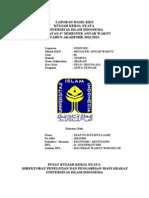 Contoh Laporan Kkn Individu Jurusan Manajemen Sdm Kumpulan Contoh Laporan