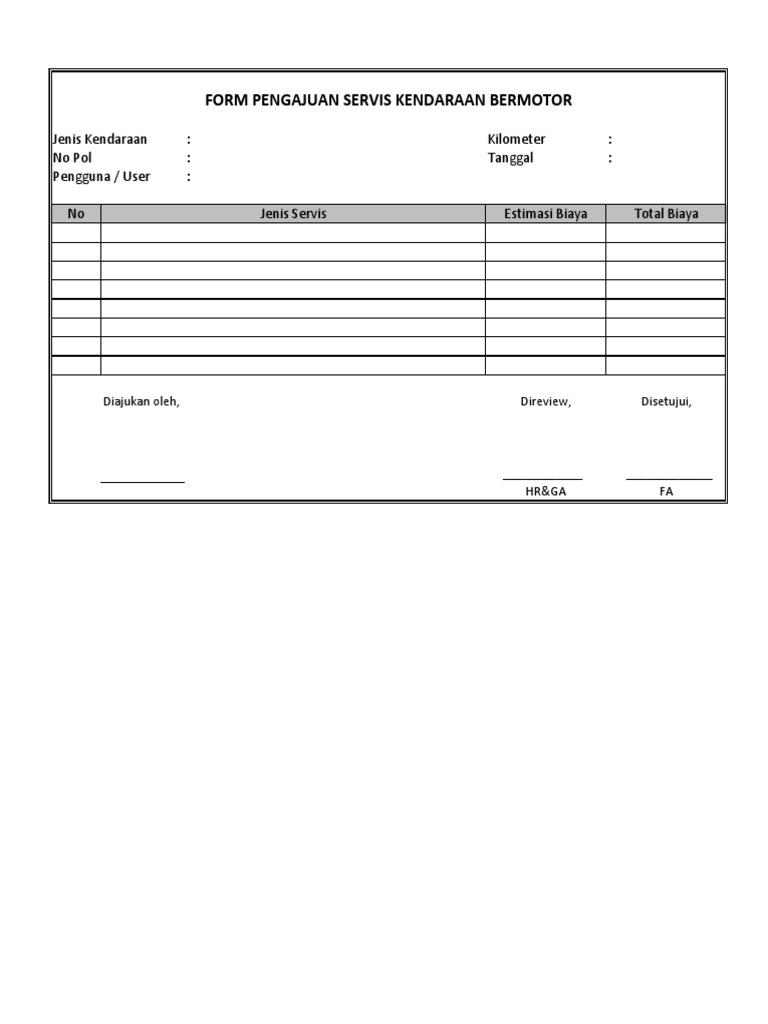 Form Pengajuan Servis Kendaraan Bermotor