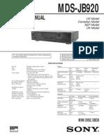 Sony Mds Jb920 Service Manual