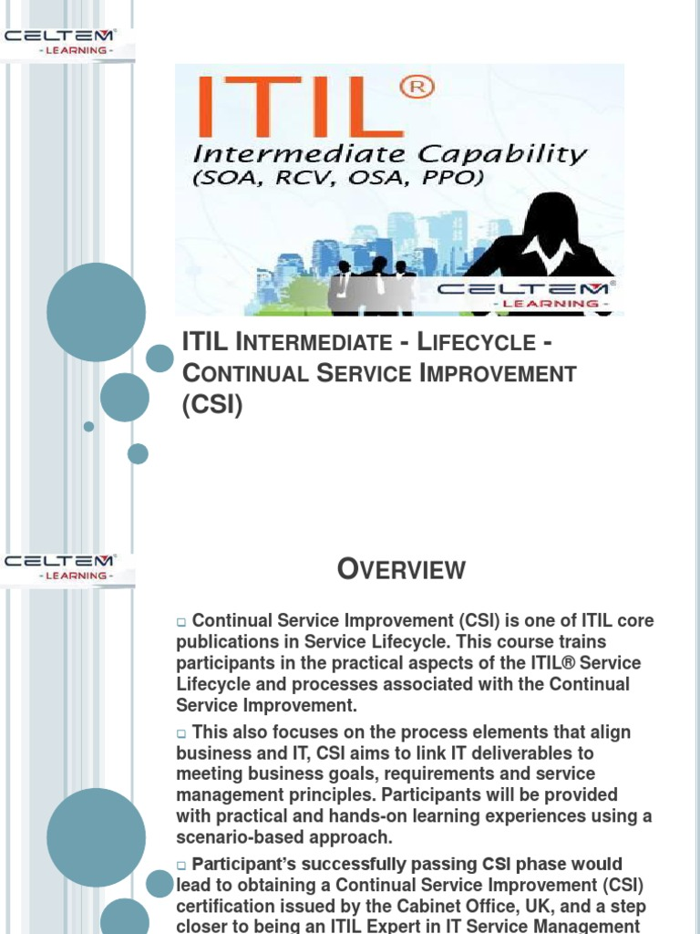 Itil Intermediate Lifecycle Certification And Training Itil