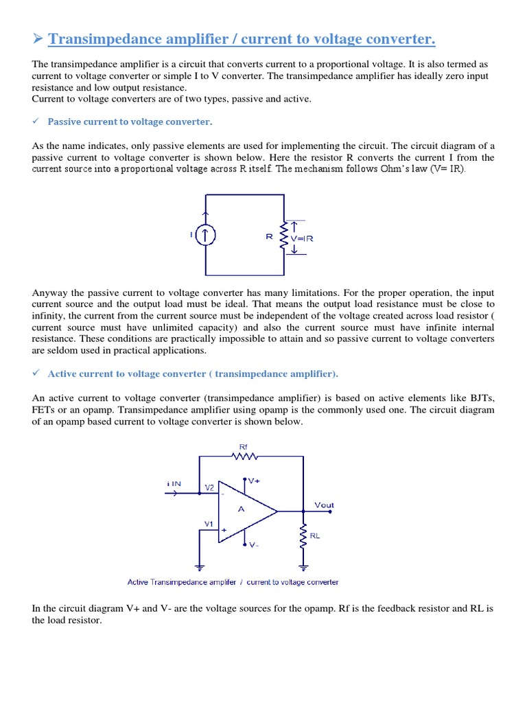 Transimpedance Amplifier Operational Proposed Schematic