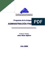 Programa de Administración Financiera 2009