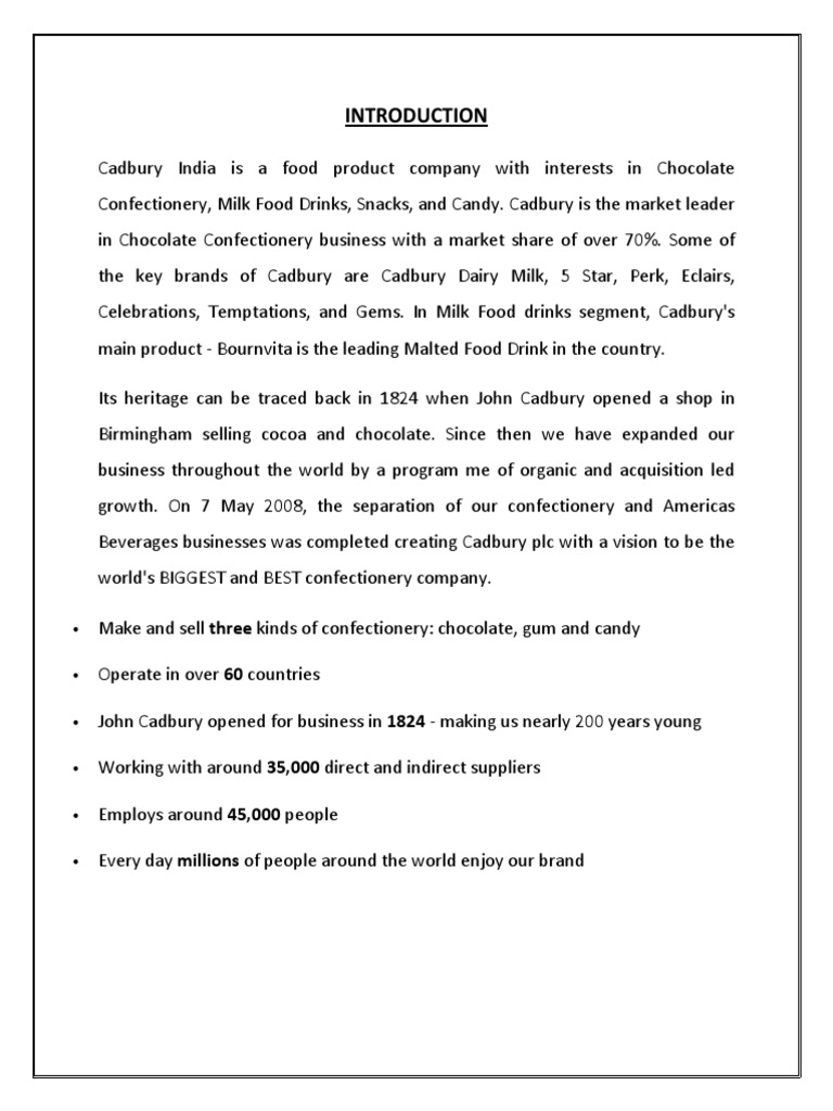 mission and vision statement of cadbury dairy milk