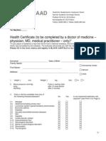 DAAD - Health Certificate