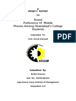 a project report on Brand Preference of mobile phones among ghaziabad students