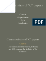 characteristics of c papers
