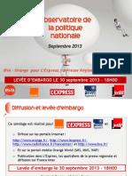 Baromètre BVA - Orange - L'Express - Presse Régionale - France Inter - septembre 2013