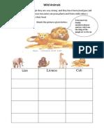 Wild Animals . (preprimary worksheet.(Margaret.Lenny.Rebello).