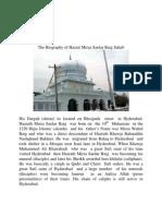 Biography of Hazrat Mirza Sardar Baig Saheb Hyderabad