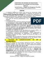 2013 Edital Cad Emergencial ESPECIAL APNF