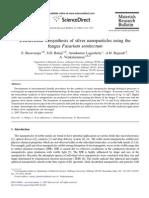 Extra Cellular Bio Synthesis of Silver Nano Particles Using the Fungus Fusarium Semitectum