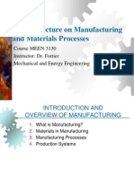 Review Lecture on Materials and Manufacturing Processes
