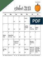 october calendar 2013pdf