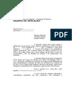 Razões de Recurso de Apelação - Corrupção de Menores - Lei 12.015 de 07.08.2009