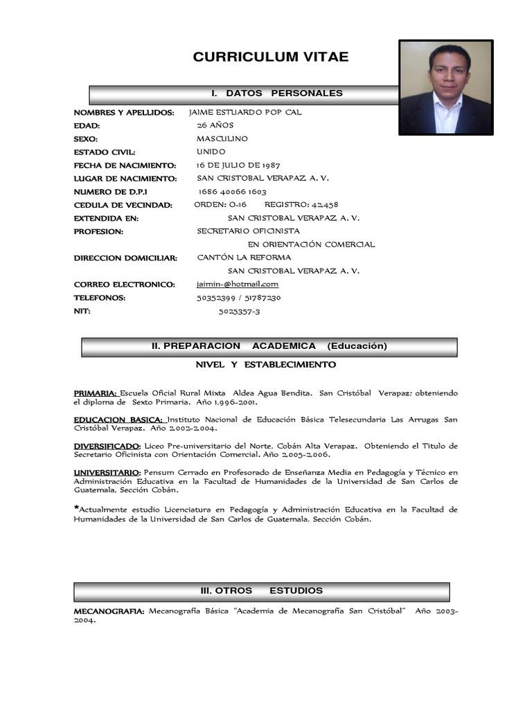 Curriculum Vitae uploaded by Jaime Estuard Pop