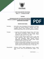 per-men-hut-2007-17-perubahan kelima atas permenhut 2005-13-organisasi dan tata kerja departemen kehutanan