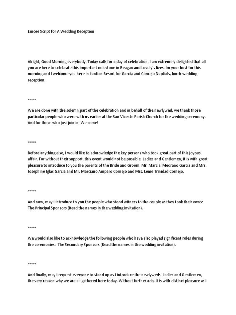 Emcee Script for a Wedding Reception | Wedding | Bride