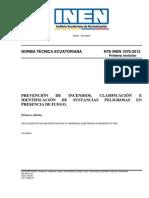 1076-1 PREVENCIÓN DE INCENDIOS. CLASIFICACIÓN E identificacón de sustancias peligrosas en presencia de fuego
