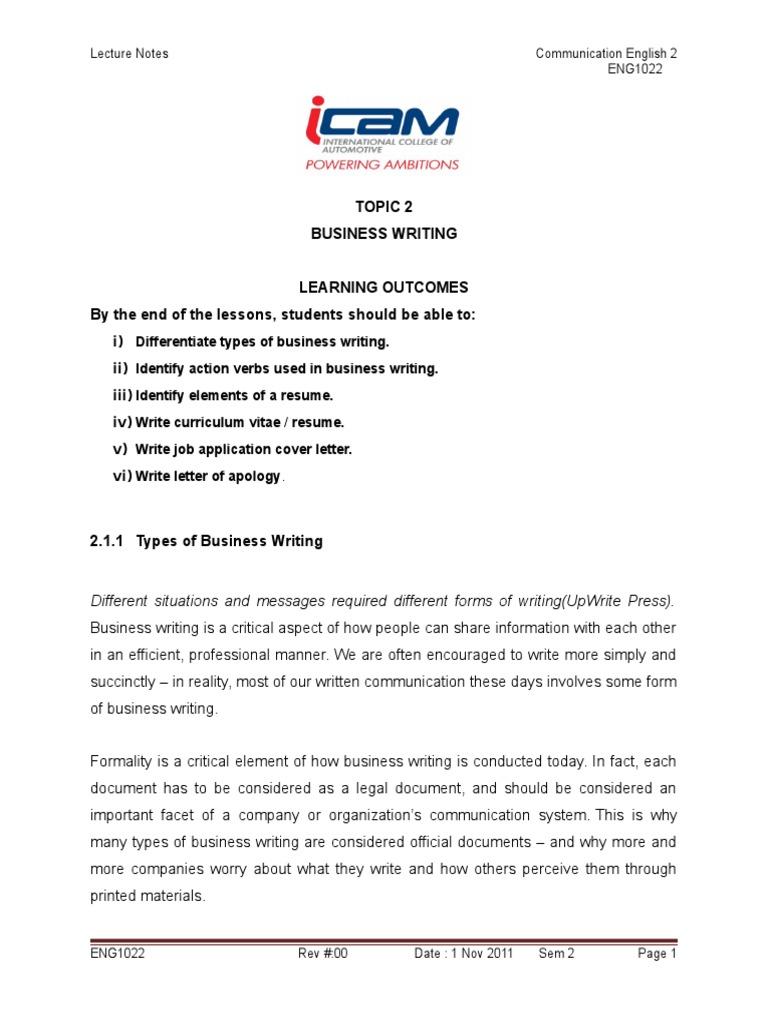 business memo writing assignment