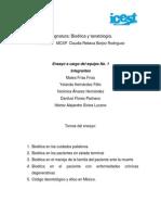 Bioetica y Tanatologia Ensayo Equipo 1