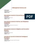 Inderscience List of Journals
