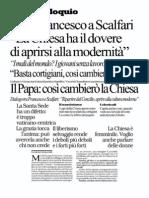 intervista di Papa Francesco a Eugenio Scalfari