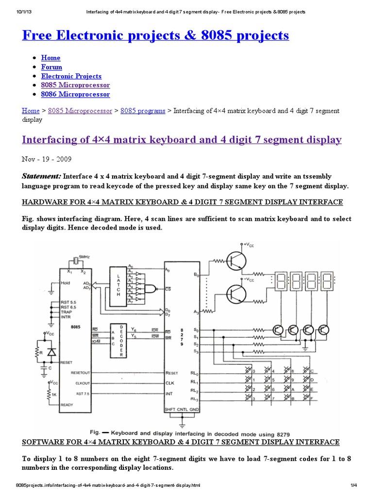 Interfacing of 4x4 Matrix Keyboard and 4 Digit 7 Segment