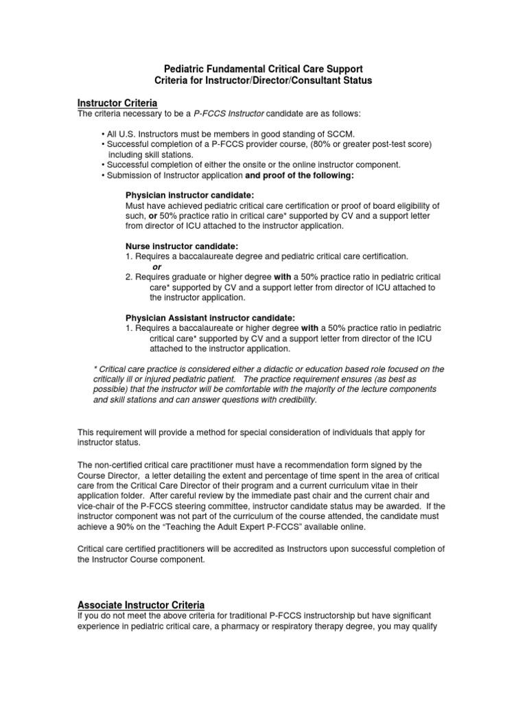 Pfccs Instructor Director Consultant Criteria Intensive Care