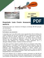Deputado Luiz Couto denuncia plano para matá-lo